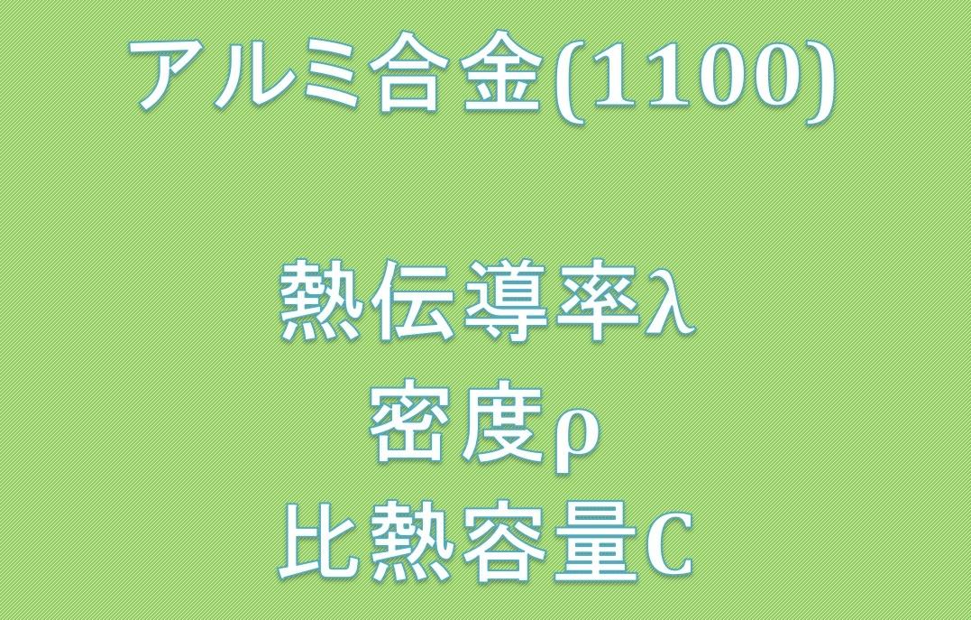 アルミ合金(1100)熱伝導率、密度、比熱